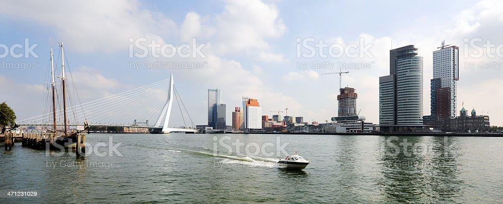 panaramic view of the river Maas Rotterdam stock photo