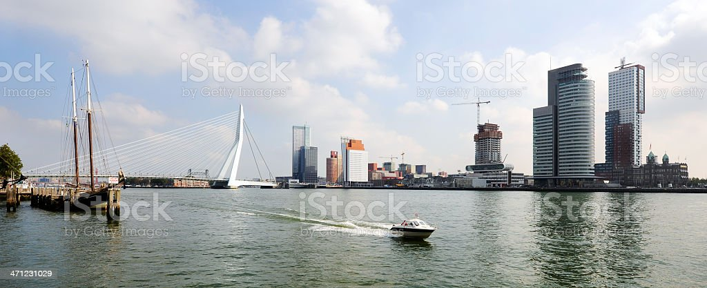 panaramic view of the river Maas Rotterdam stock photo