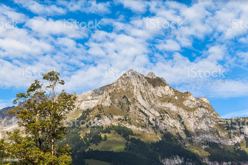 Panaroma view of the Alps in Engelberg valley stock photo