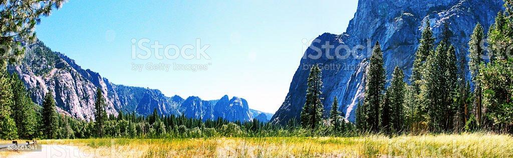 Panaroma Yosemite Meadows stock photo