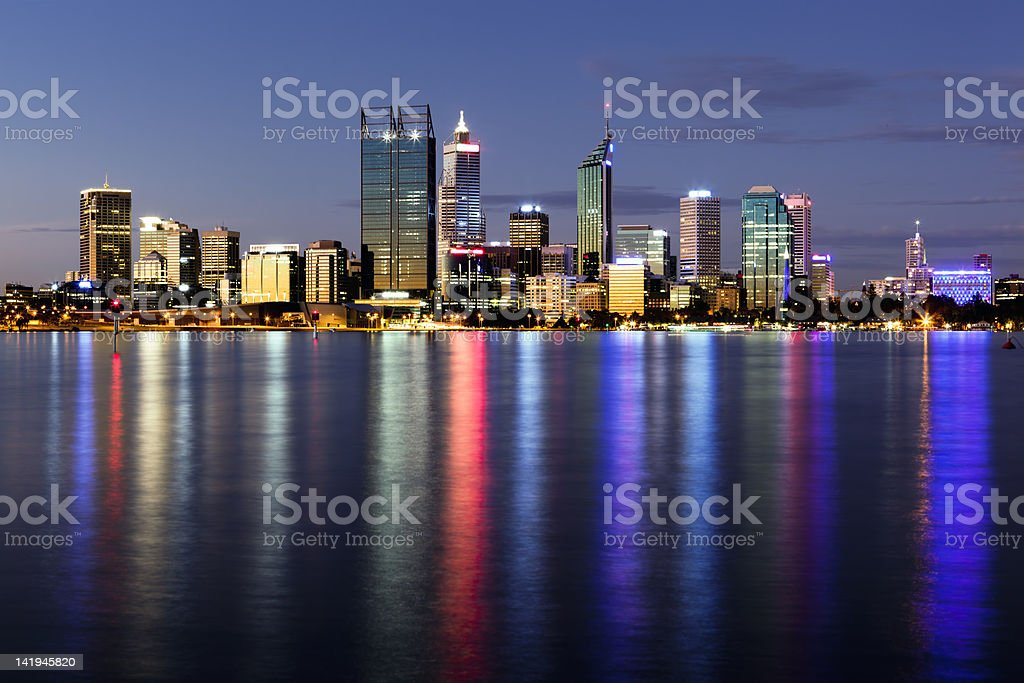 Panaromic night view of Perth, Western Australia royalty-free stock photo