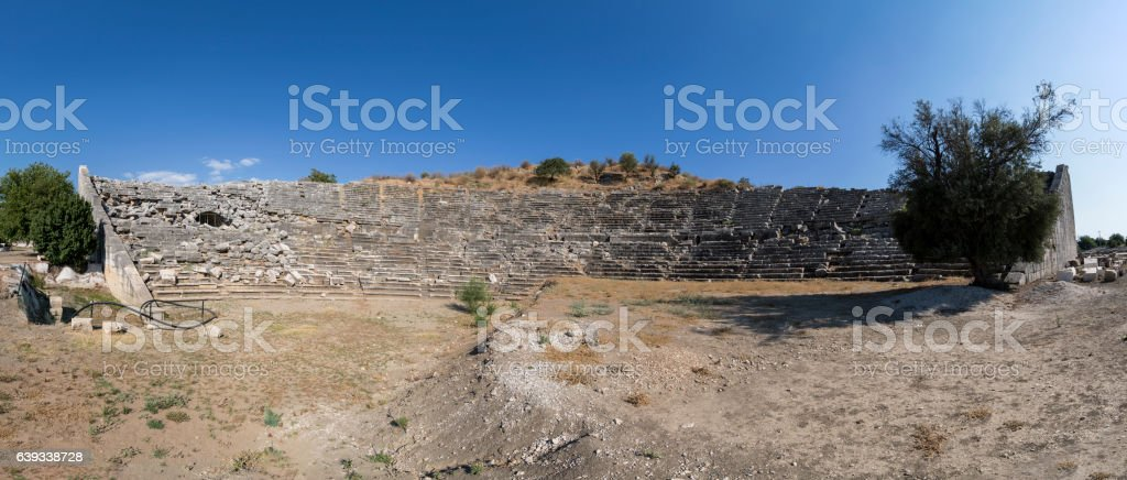 Panaromic view to amphitheater of Letoon ancient city in Mugla stock photo