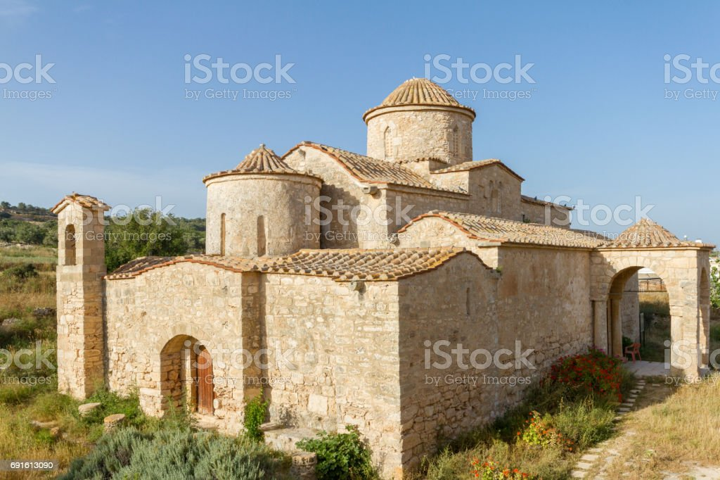 Panayia Kanakaria Monastery Church, Cyprus- diagonal view stock photo