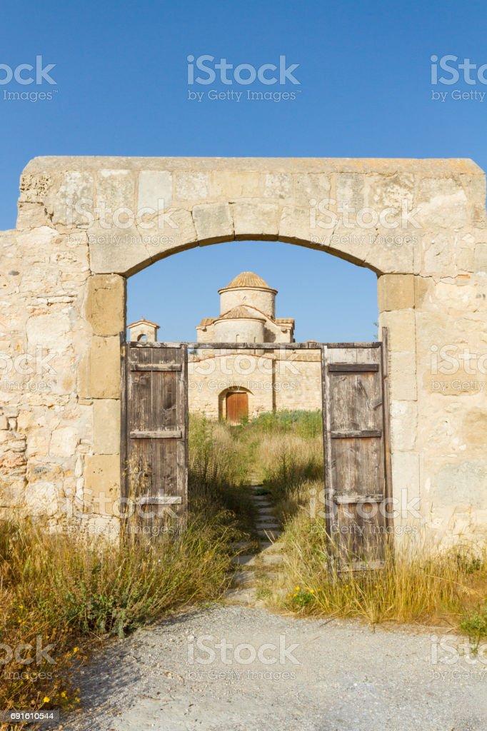 Panayia Kanakaria Monastery Church, Cyprus- portrait view stock photo