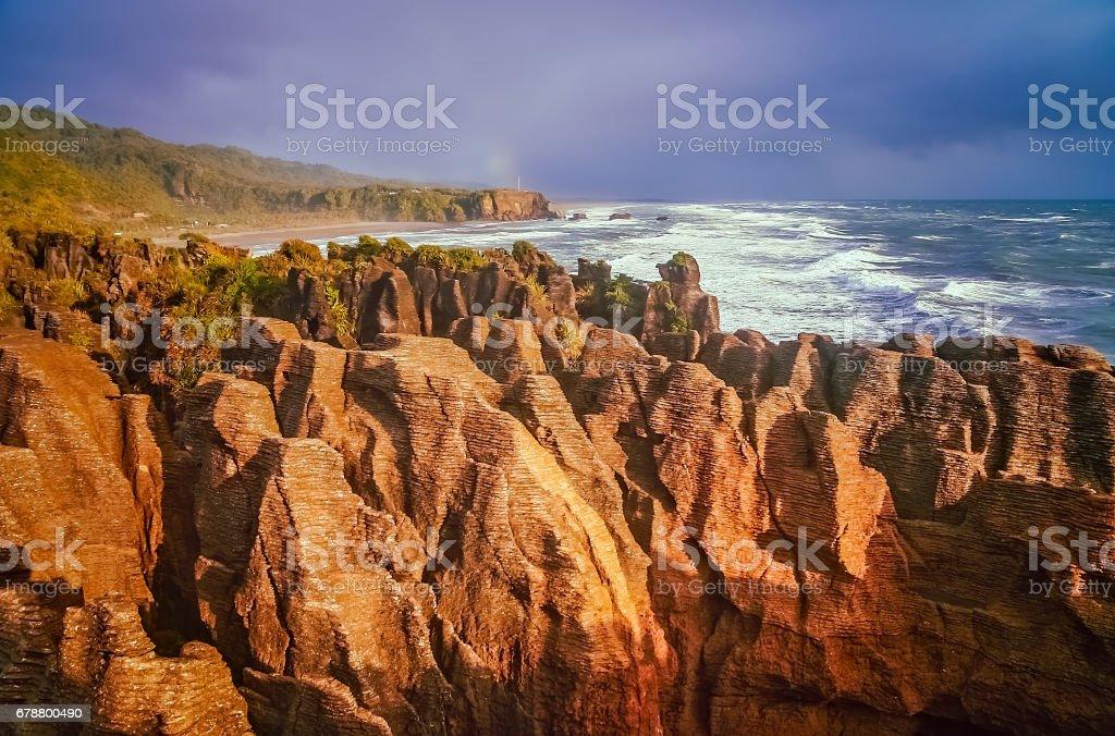 Pancake rocks on the coast stock photo