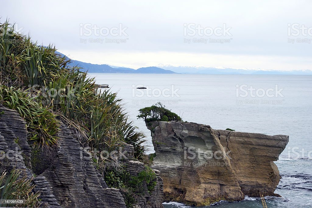 Pancake Rocks, Punakaiki, West Coast, New Zealand royalty-free stock photo