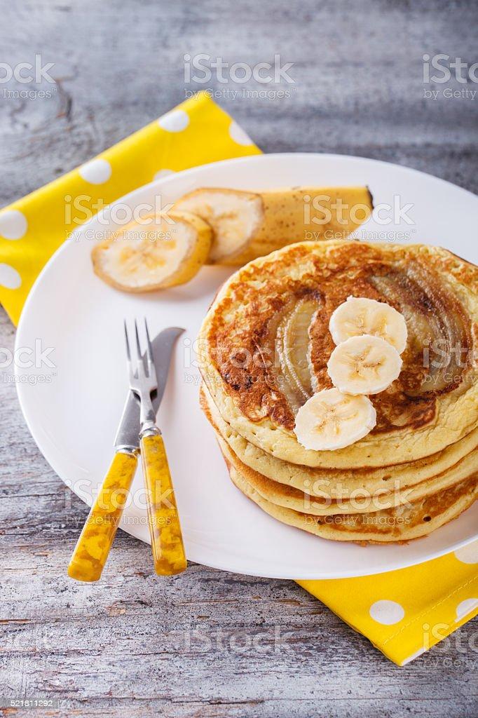 Pancake with banana stock photo
