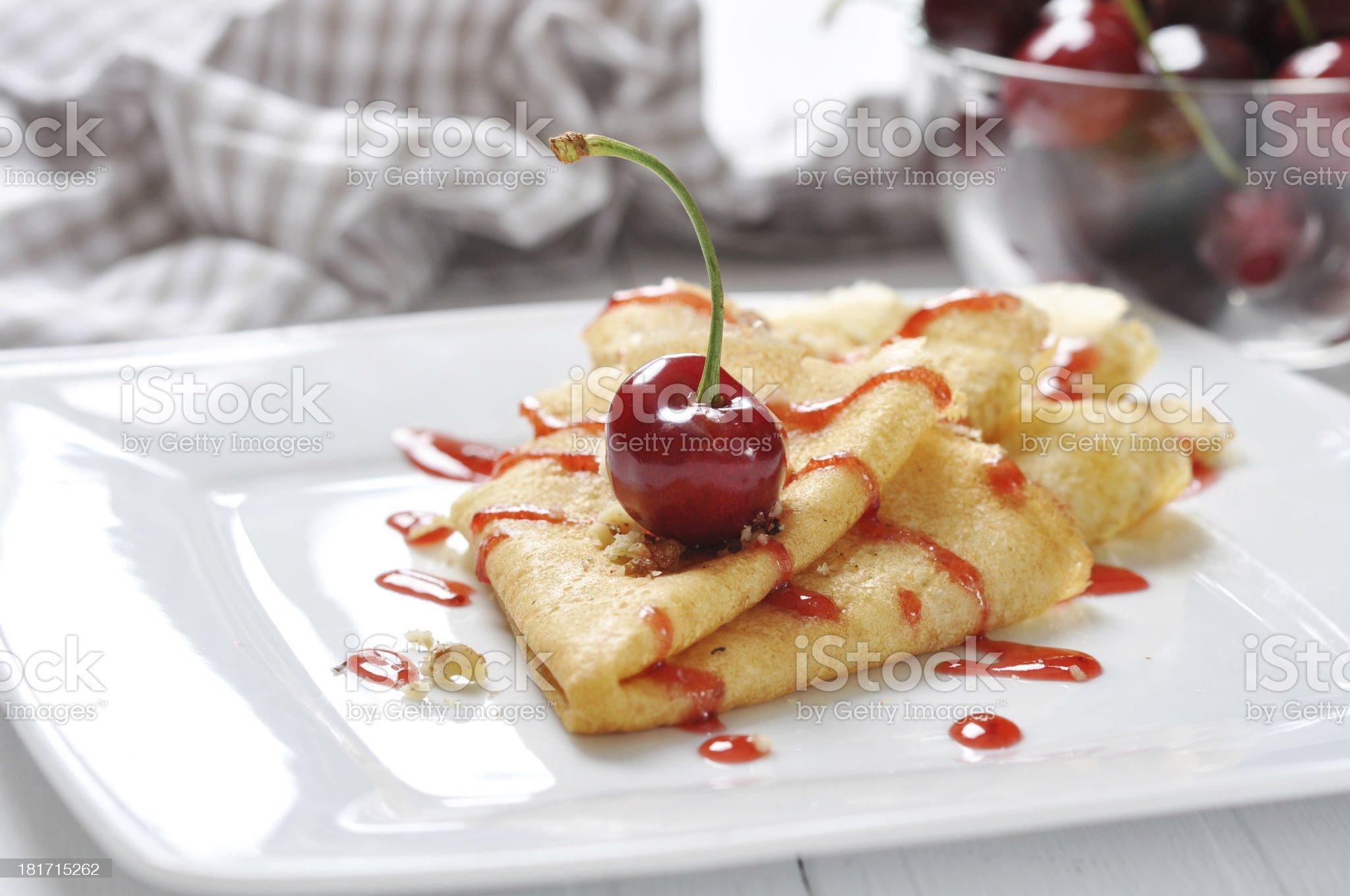 Pancake with cherry royalty-free stock photo