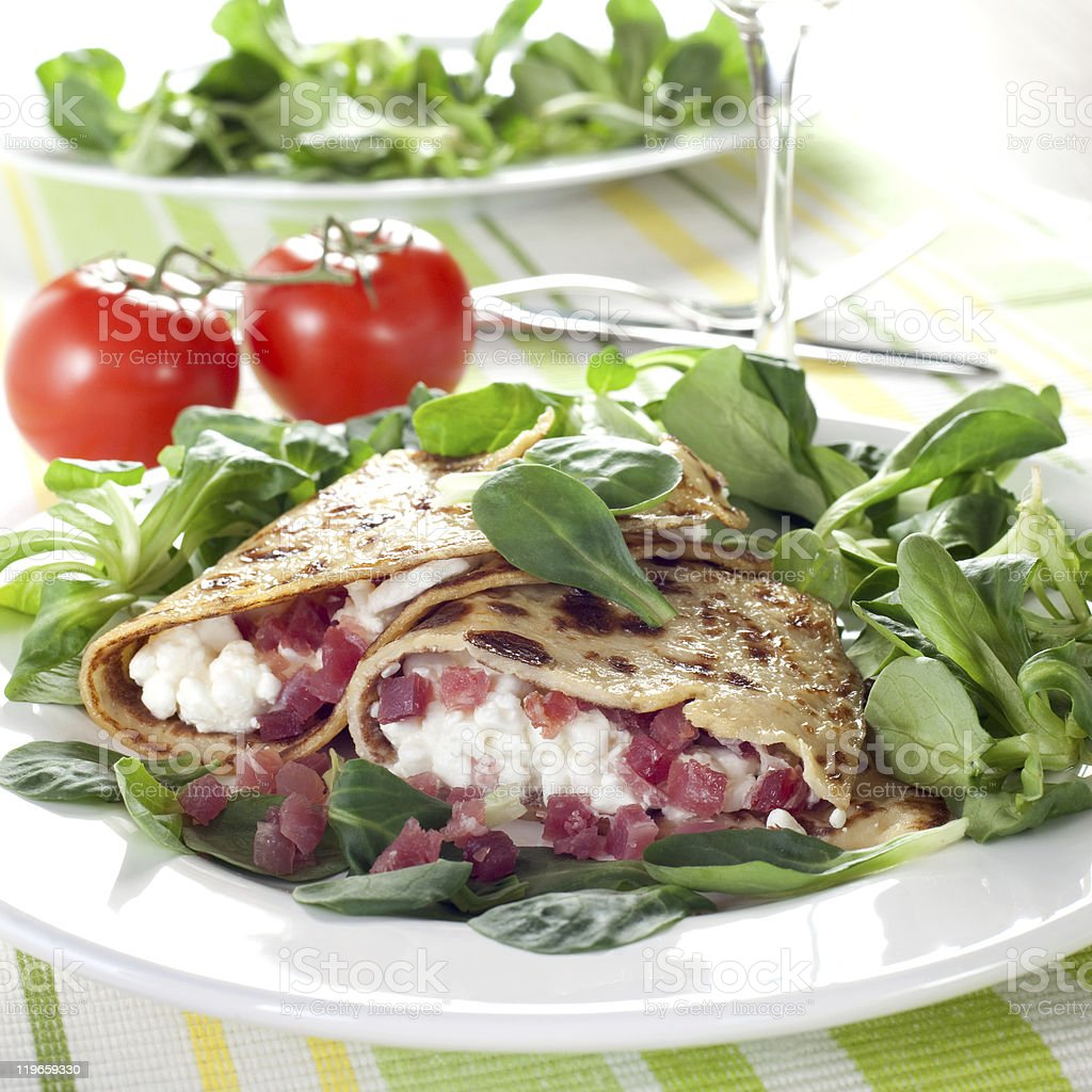 pancake with cottage cheese and ham royalty-free stock photo