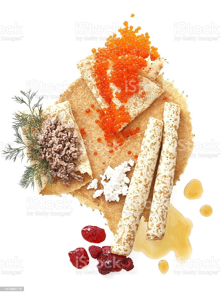 pancake with different stuffing stock photo