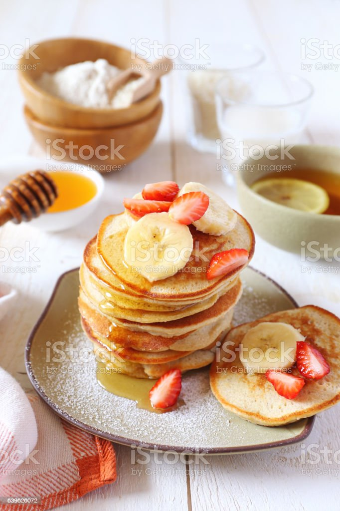 Pancake with rice milk and rice flour stock photo