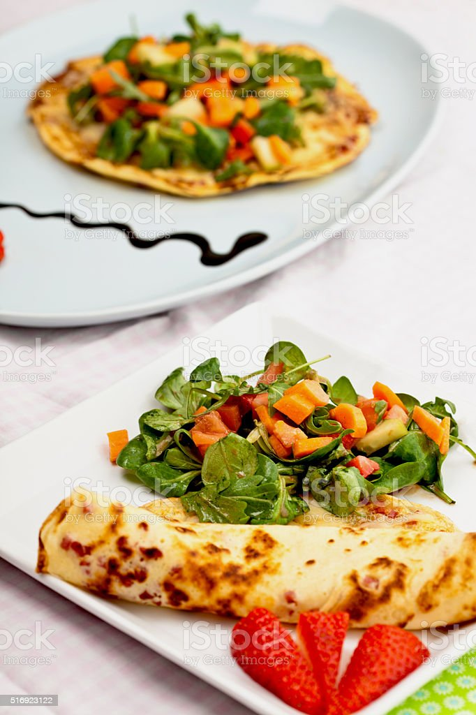 pancake with salad stock photo
