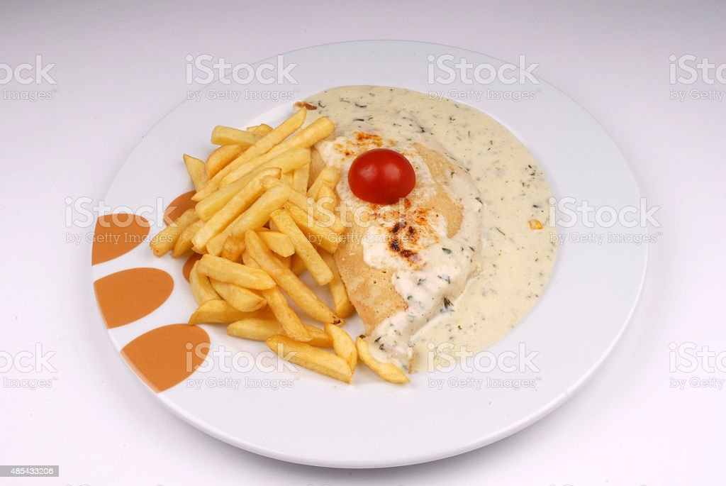 Pancake with Sauce and Fried Potato stock photo