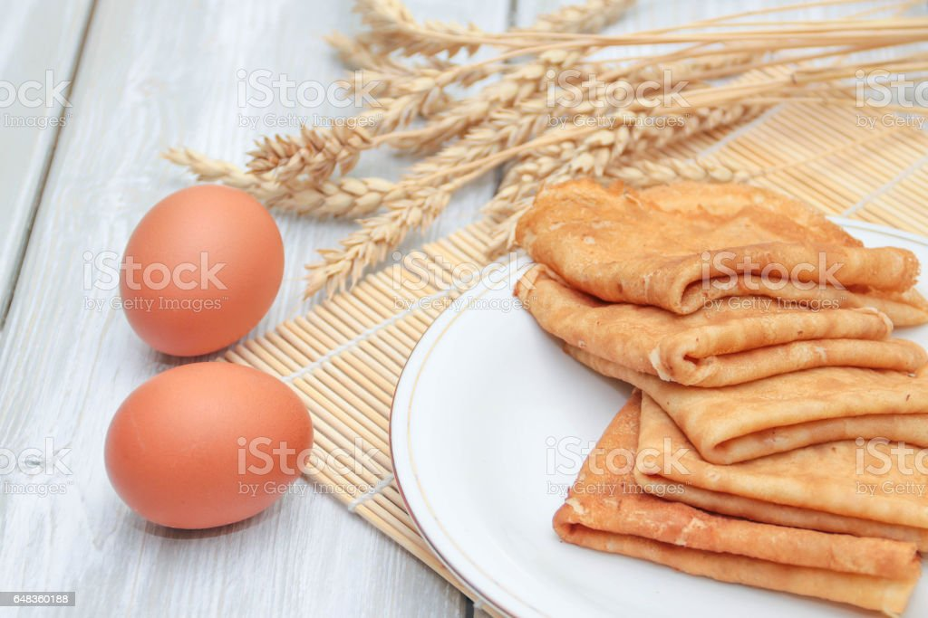 Pancakes and ingredients stock photo