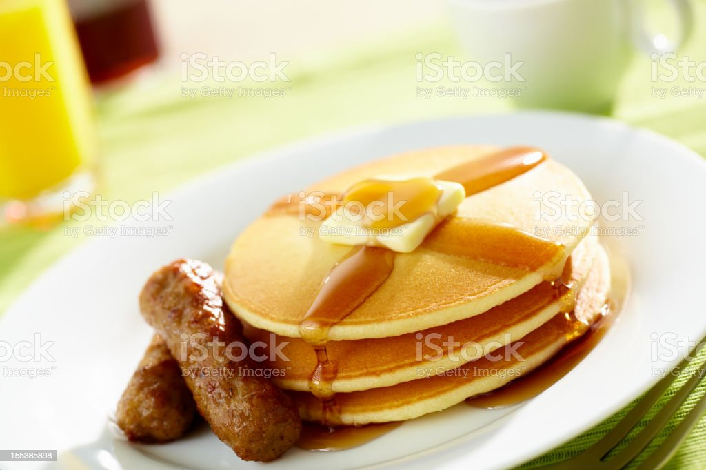 Pancakes and Sausage stock photo
