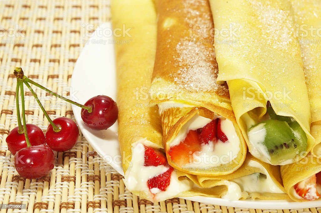 Pancakes filled with berries royalty-free stock photo