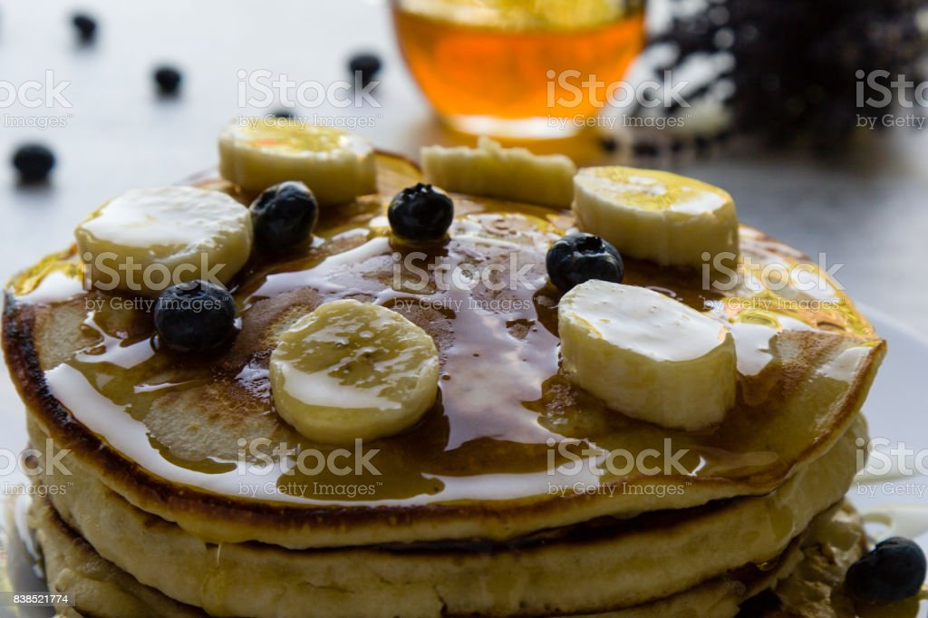 pancakes in morning light stock photo