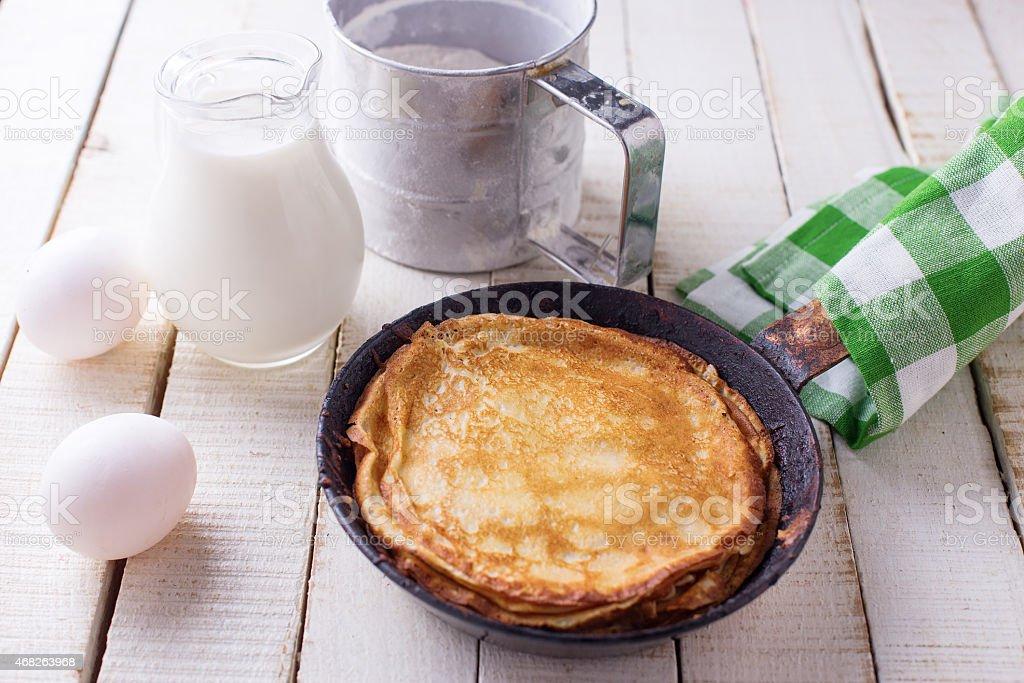 Pancakes. Ingredients for pancakes. stock photo