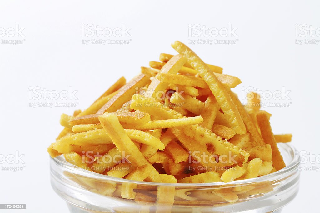 Pancakes noodles in a glass bowl royalty-free stock photo