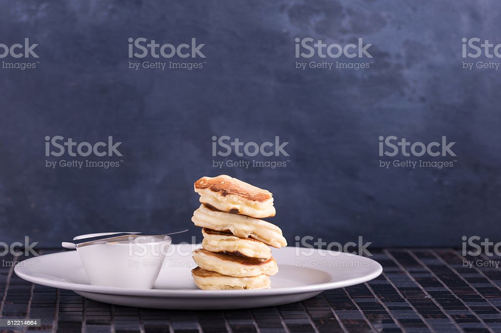 Pancakes on dish. Place for your text stock photo