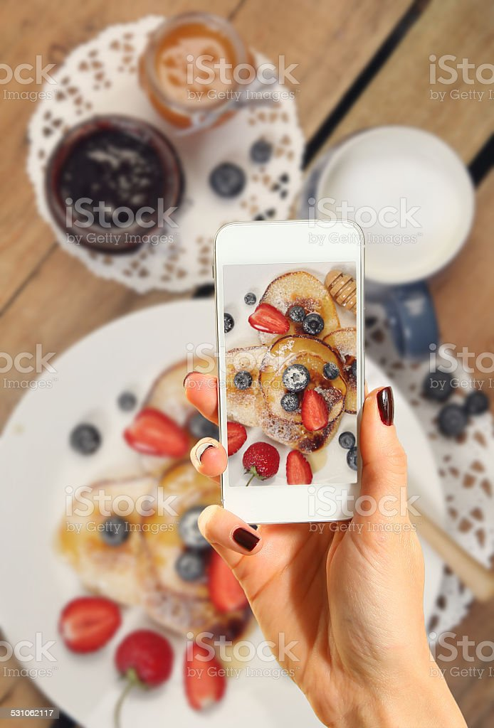Pancakes on photo stock photo