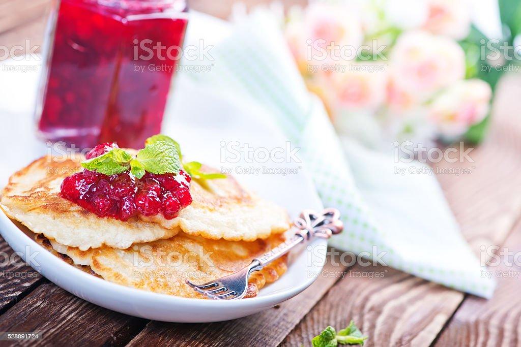 pancakes on plate stock photo