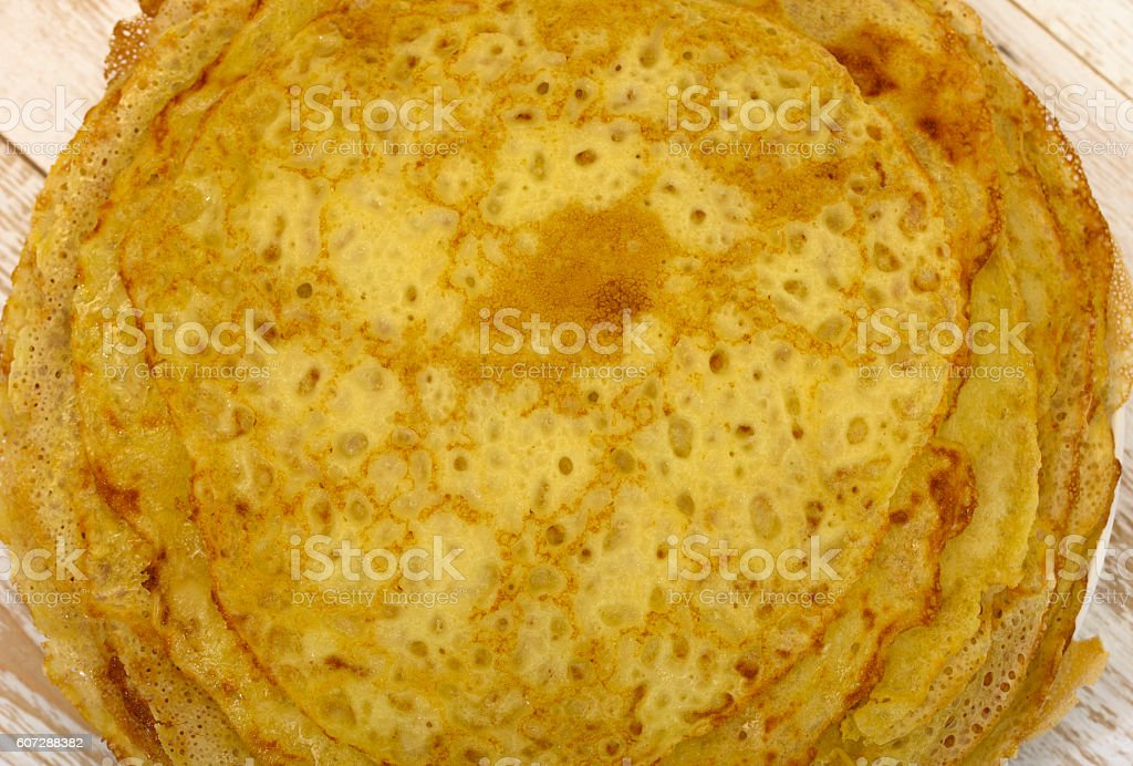 Pancakes on plate stock photo