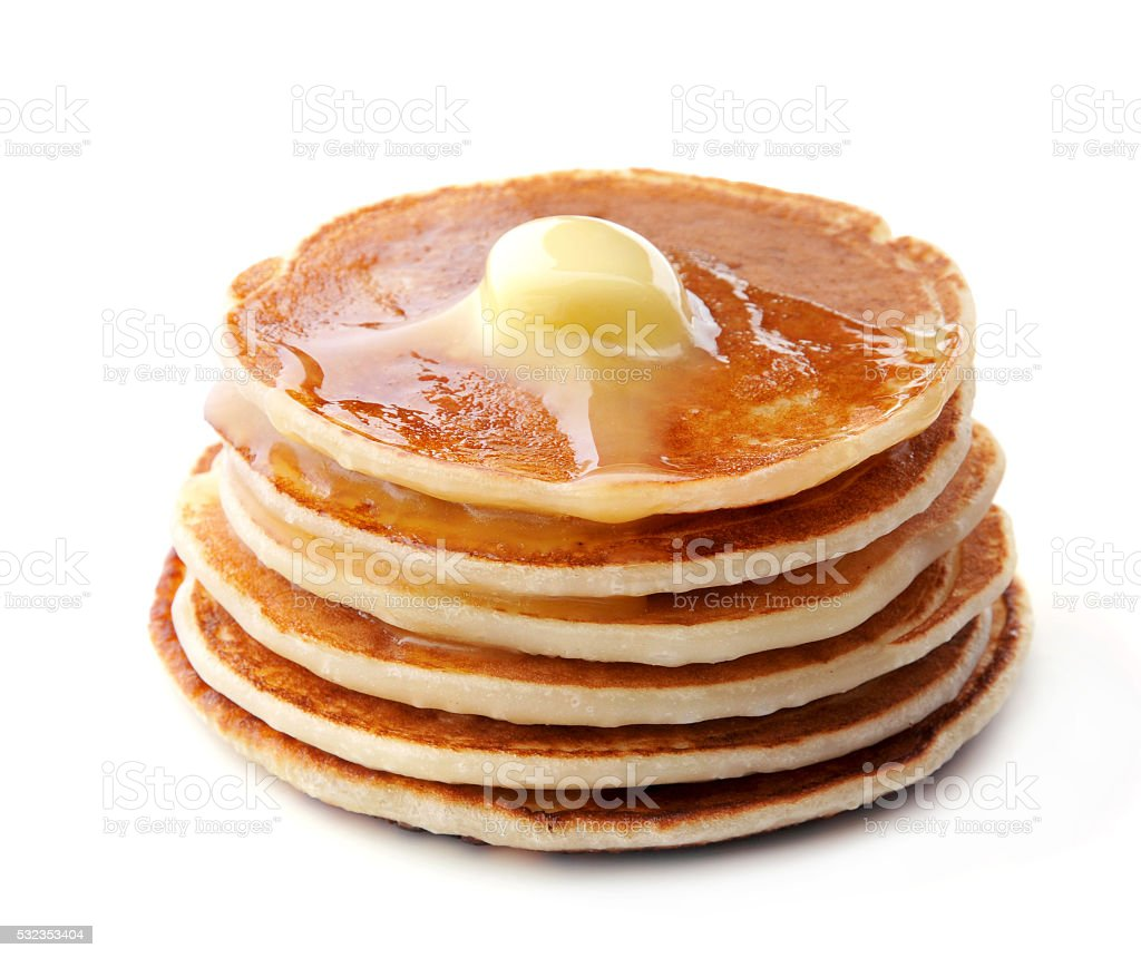 Pancakes on white background. stock photo