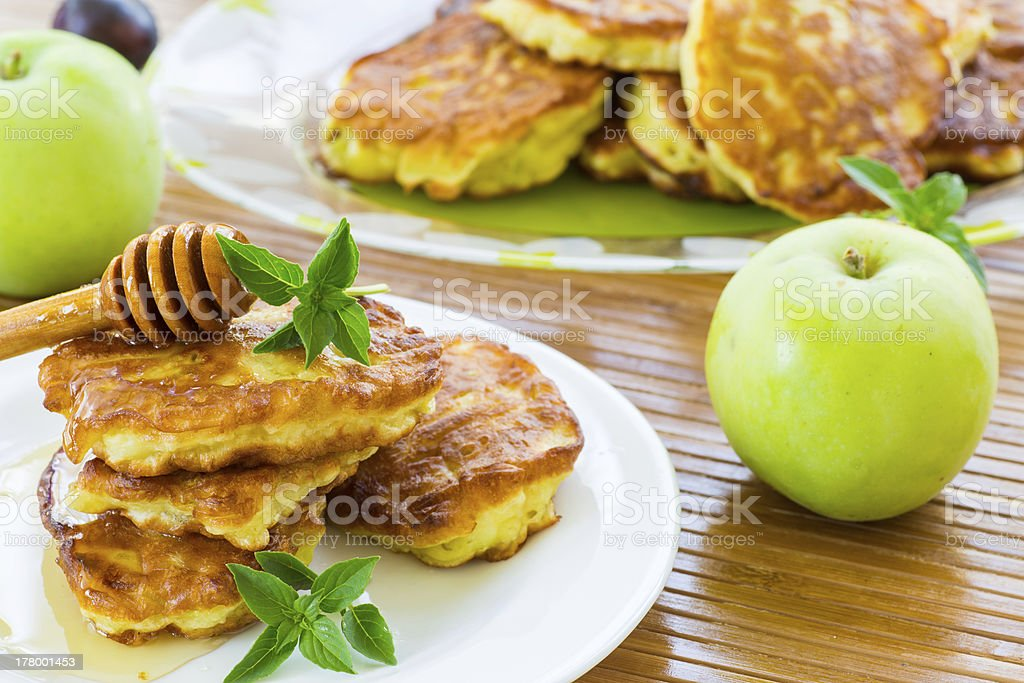 pancakes with apples and honey royalty-free stock photo