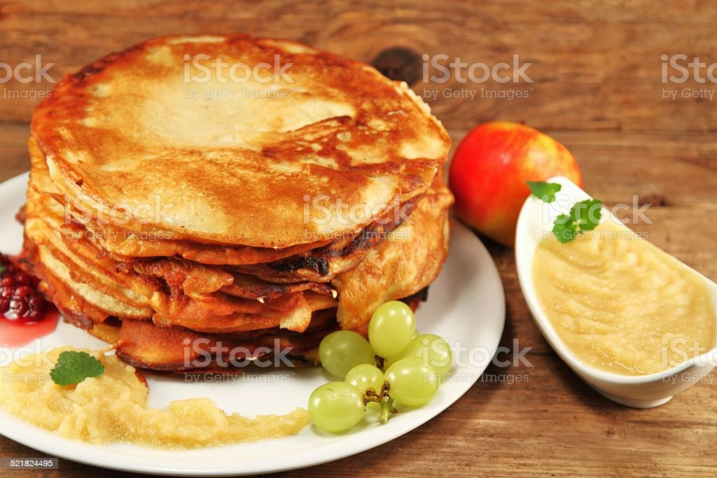 Pancakes with Applesauce stock photo