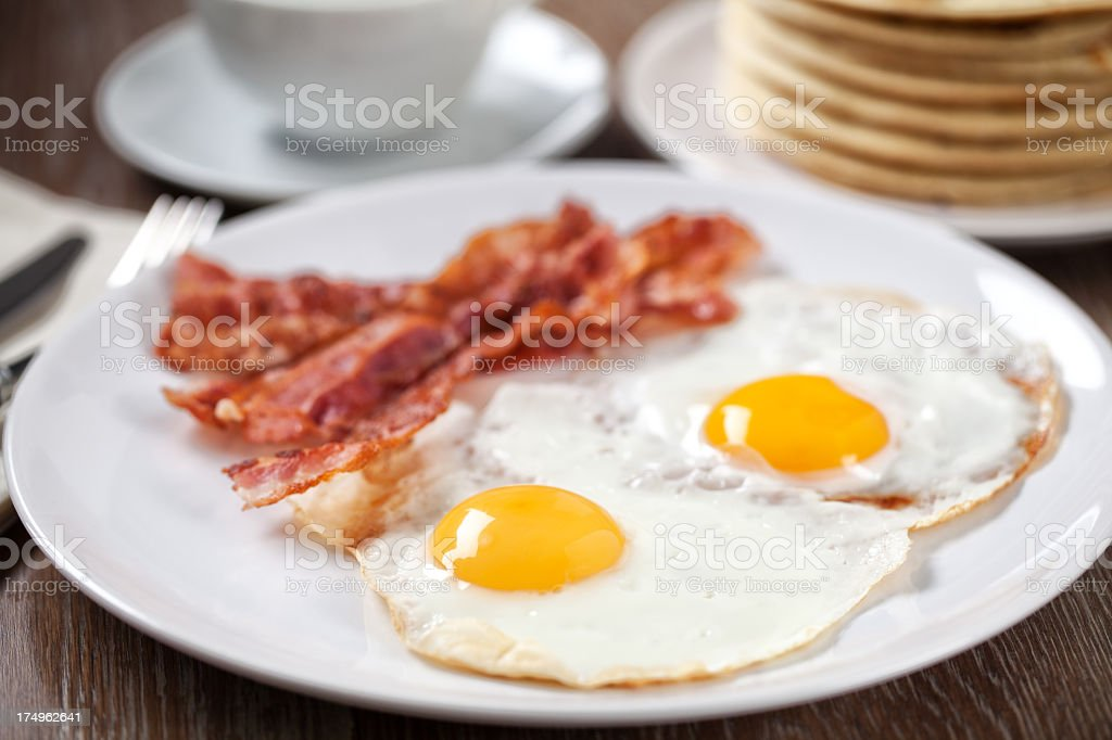 Pancakes with Bacon and Eggs royalty-free stock photo