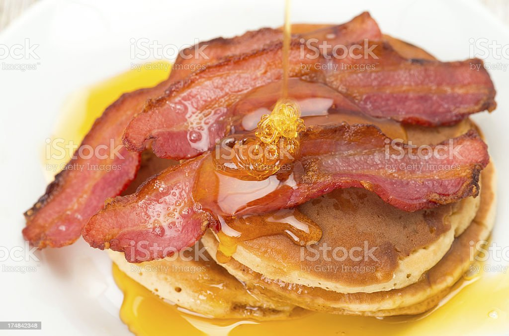 Pancakes with bacon and maple syrup - breakfast stock photo