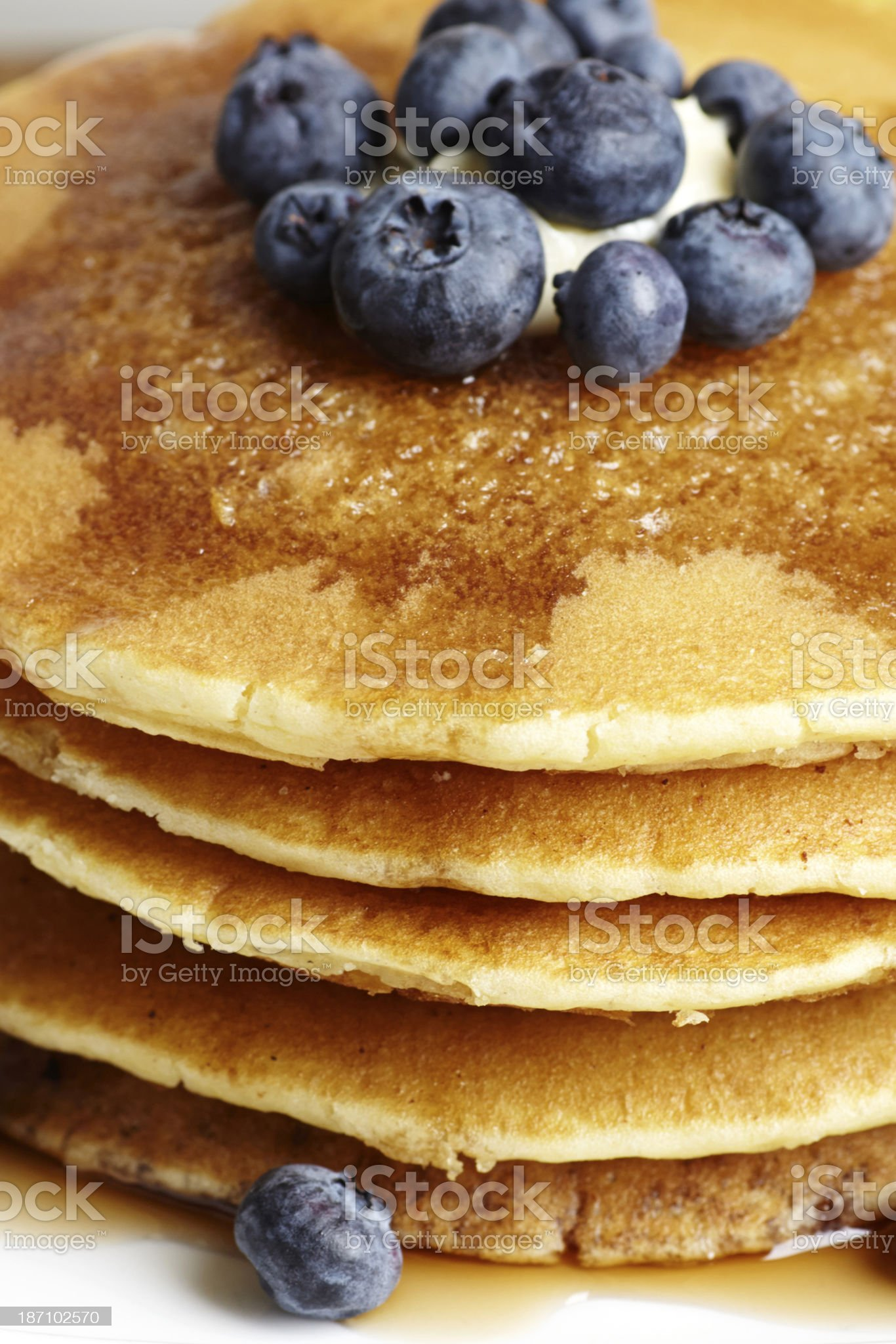 Pancakes with blueberries close-up royalty-free stock photo