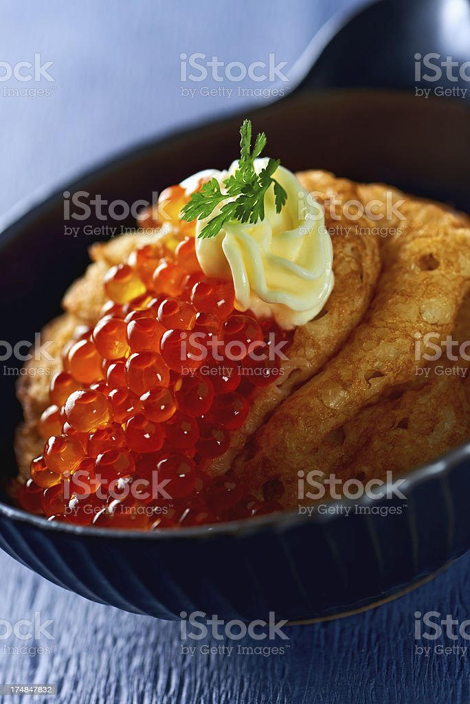 Pancakes with caviar royalty-free stock photo