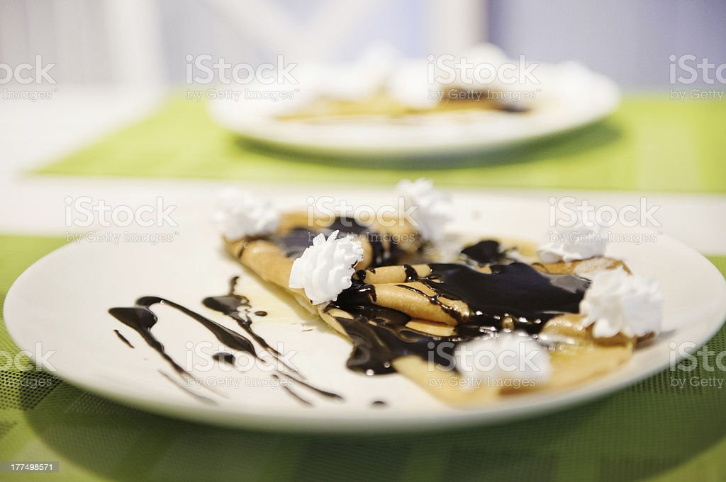 Pancakes with chocolate royalty-free stock photo