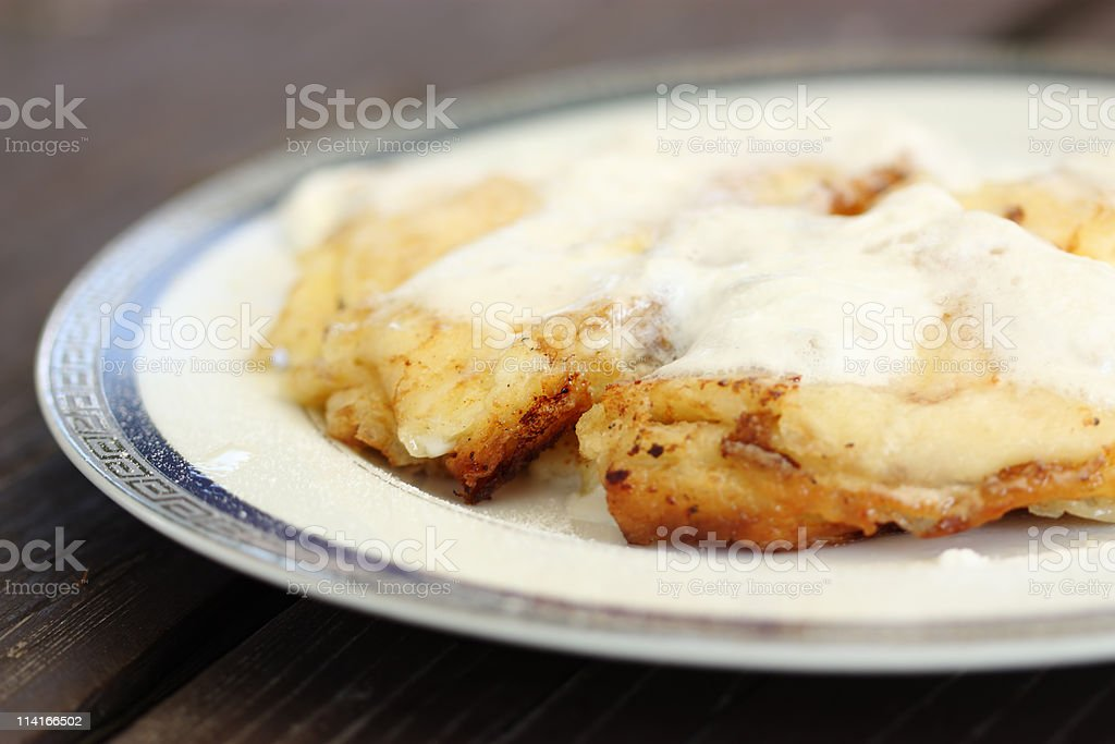 Pancakes with cottage cheese and whipped cream royalty-free stock photo