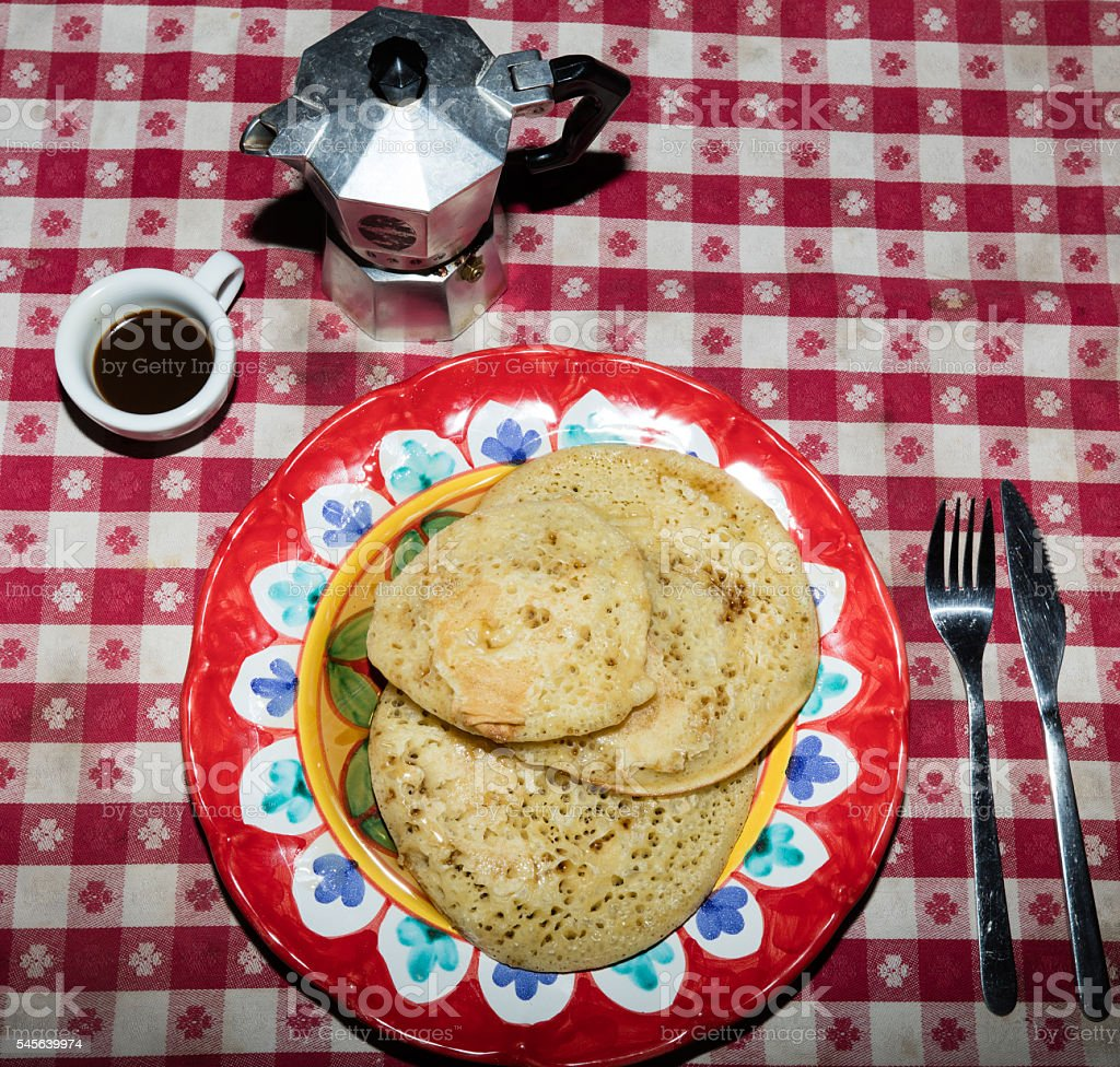 Pancakes with maple syrup ancd coffee stock photo