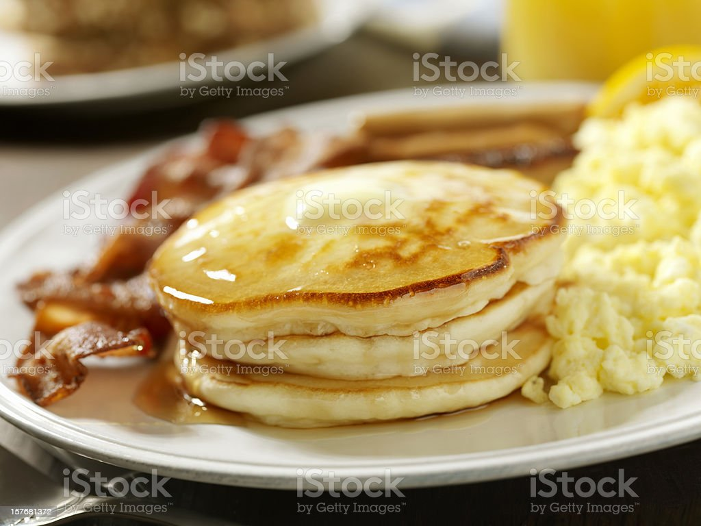 Pancakes with Maple Syrup stock photo
