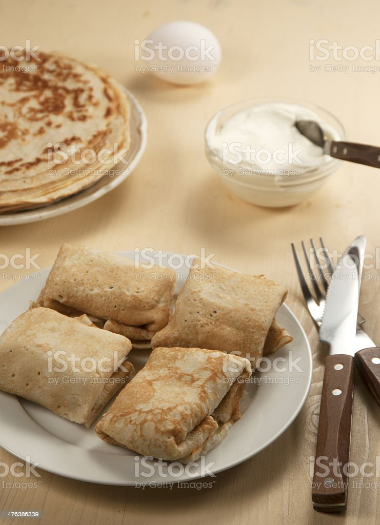 Pancakes with meat filling royalty-free stock photo