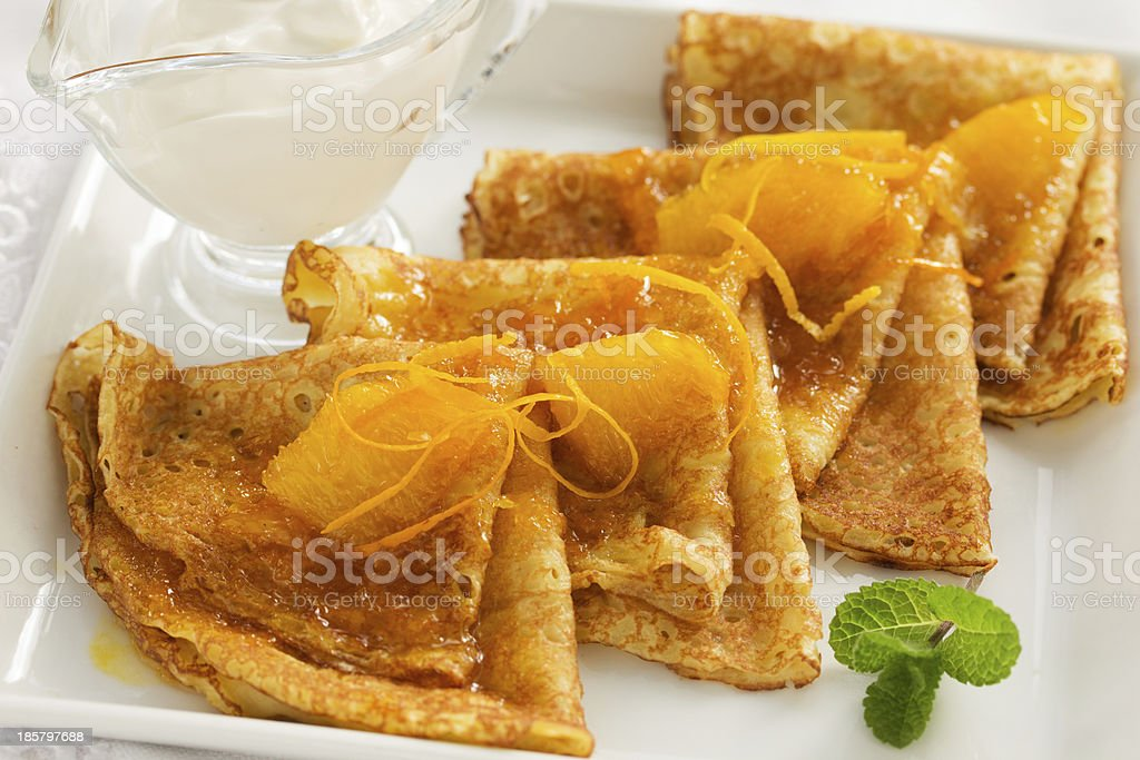 Pancakes with oranges. stock photo