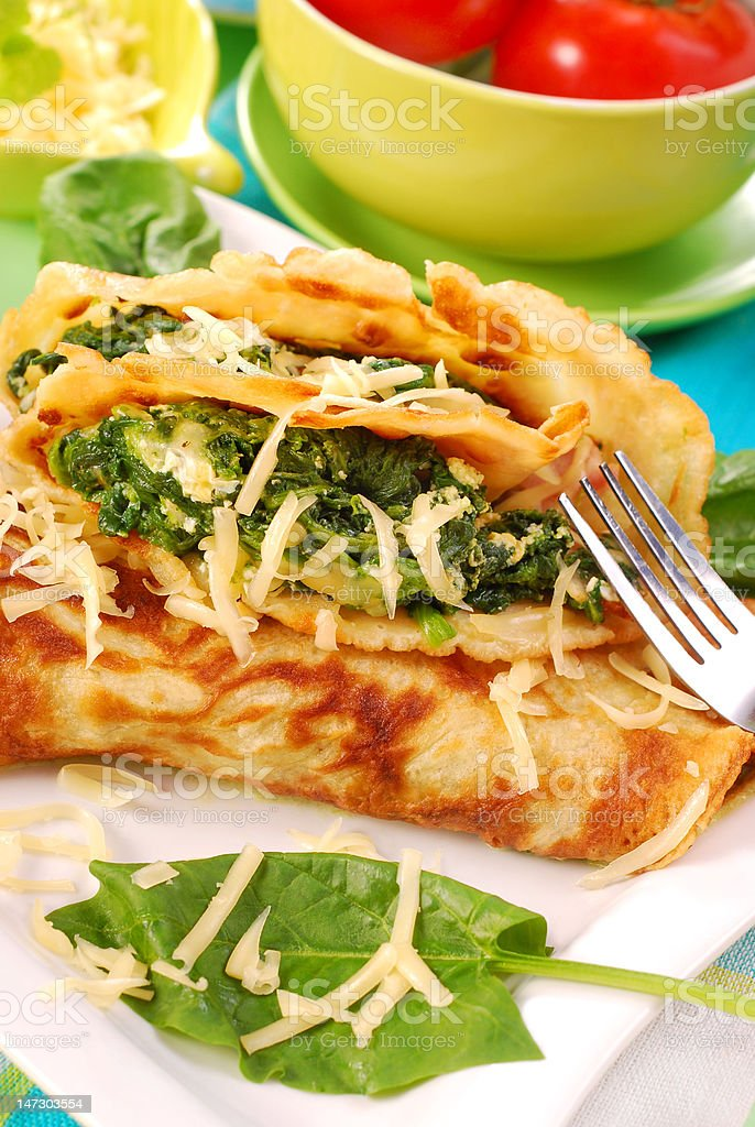 pancakes with spinach royalty-free stock photo