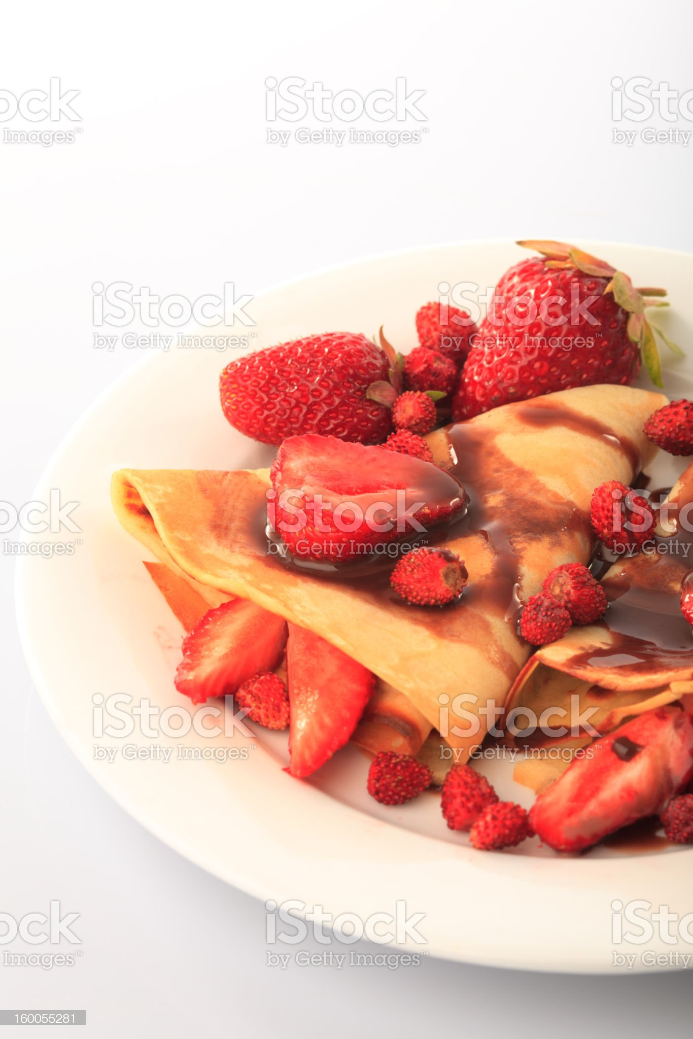 Pancakes with strawberries royalty-free stock photo