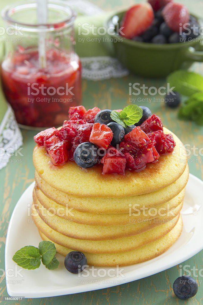 Pancakes with summer berries: strawberries, blueberries. royalty-free stock photo