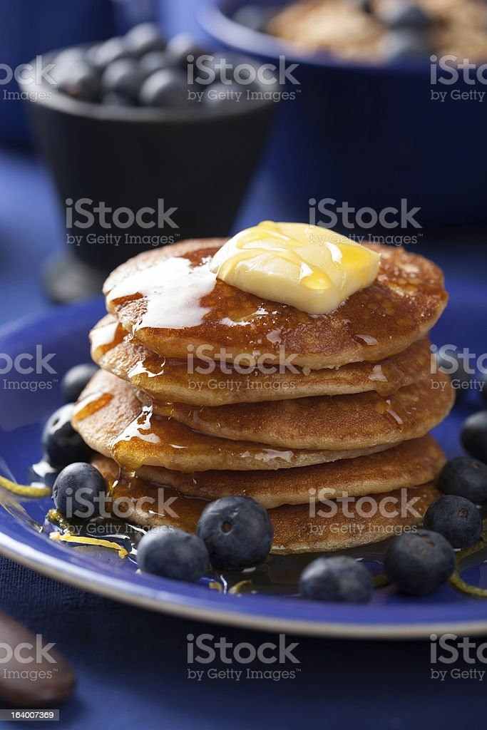 pancakes with syrup and blueberry royalty-free stock photo