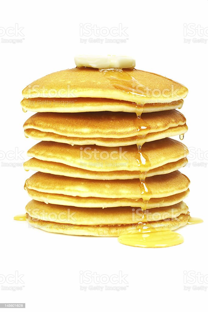 Pancakes with syrup and butter stock photo
