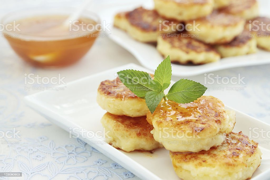 Pancakes with the cheese royalty-free stock photo