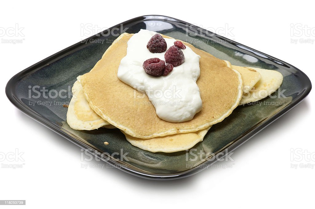 Pancakes with Yogurt and Raspberries stock photo