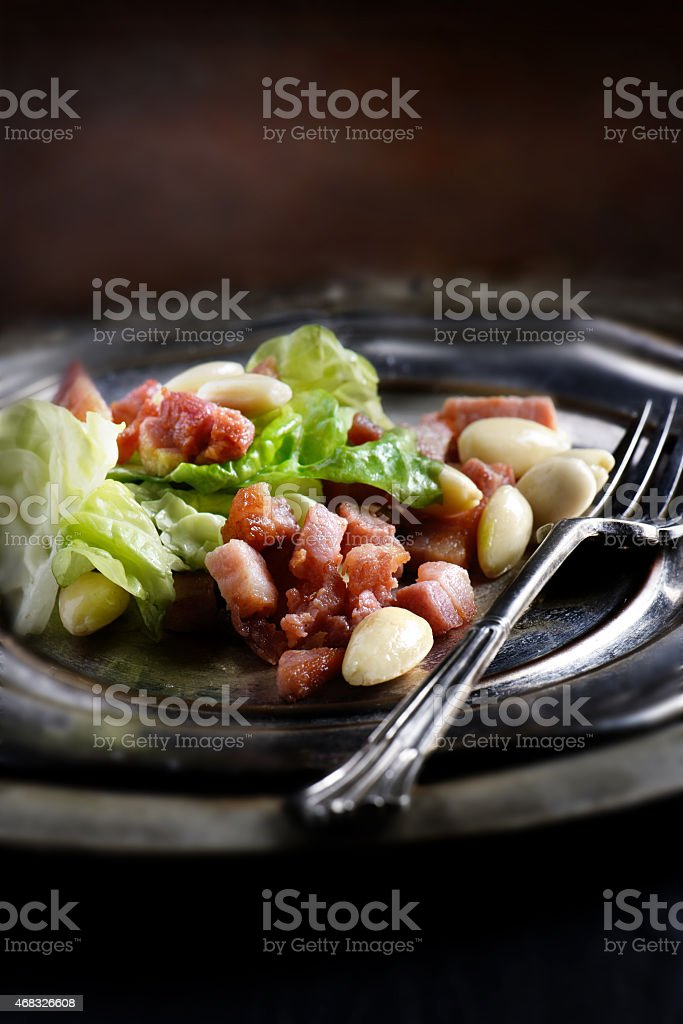 Pancetta and Lettuce Salad stock photo