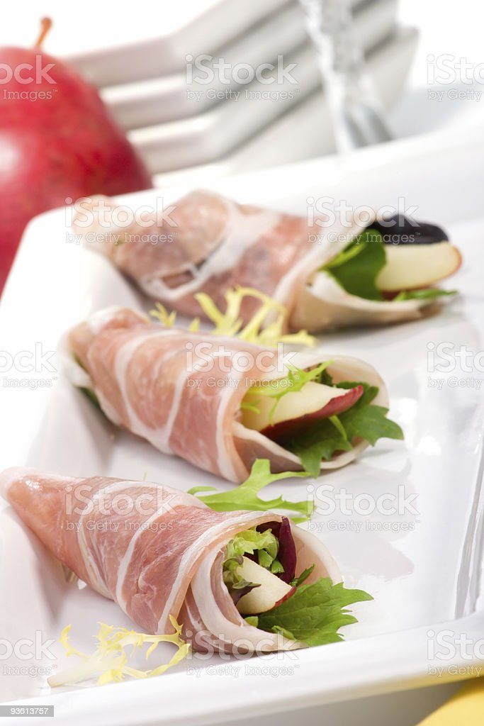 Pancetta canapes royalty-free stock photo
