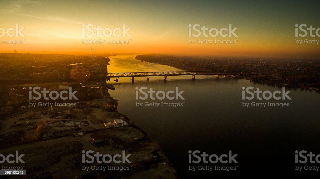 Pancevo bridge on Danube river, Belgrade stock photo